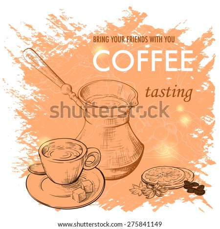 Template of the coffee related event leaflet or flyer. Old-fashioned tools for making good coffee, coffee seasoning and coffee brunch on a background. Sketch style drawing. EPS10 vector illustration. - stock vector