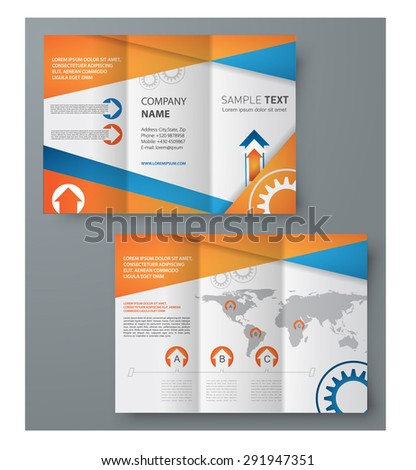 template of Tri-Fold brochure design for printing. Vector illustration