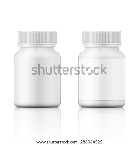 Template of white plastic bottle with screw cap for medicine, pills, tabs. Packaging collection. Vector illustration.  - stock vector