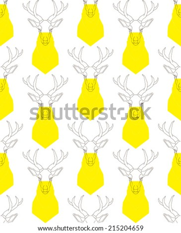 Template outline deer head and torso yellow - stock vector