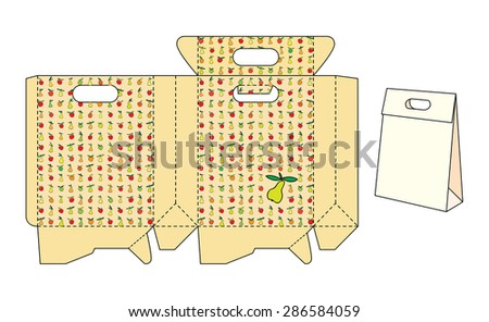 Template package with fruit pattern - stock vector