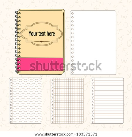 Template pad and sheets of paper: lined, checkered, wavy and regular. Sources for your design. - stock vector