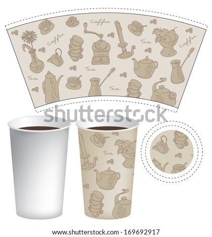 template paper cup coffee tea texture ベクター画像素材 169692917