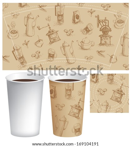 template paper cup for coffee with the texture of the dish - stock vector