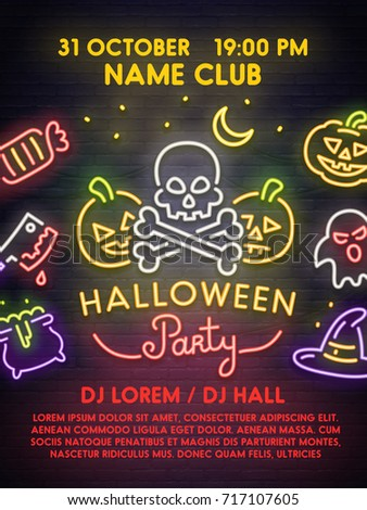 Template poster flyer invitation banner happy stock vector template poster flyer invitation banner happy halloween poster neon sign stopboris Image collections