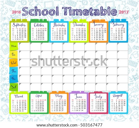 Template school timetable lessons calendar 20162017 stock for Sunday school calendar template