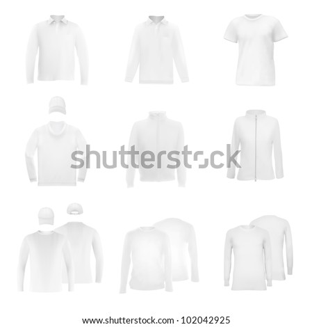 Template set: long sleeve blank polo t-shirts and hats. - stock vector