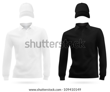 Template set: long sleeve blank t-shirts and hats.