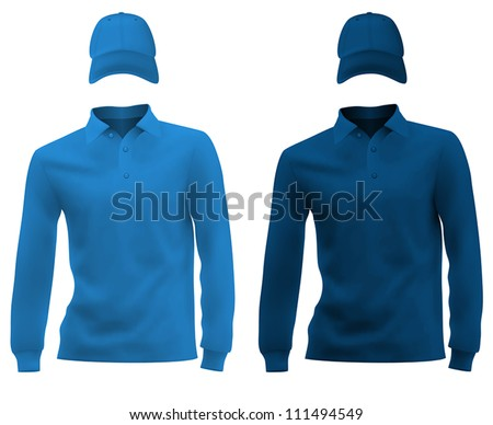 Long Sleeve Shirt Vector Template Stock-vector-template-set-long