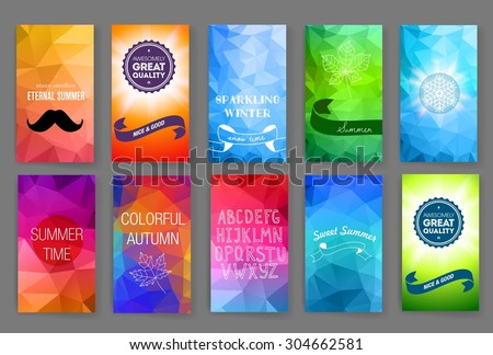 Template. Set of poster, flyer, brochure design templates. Elements for Summer Holidays with colorful background.  Vector brochure design templates collection. Applications and Infographic Concept.  - stock vector