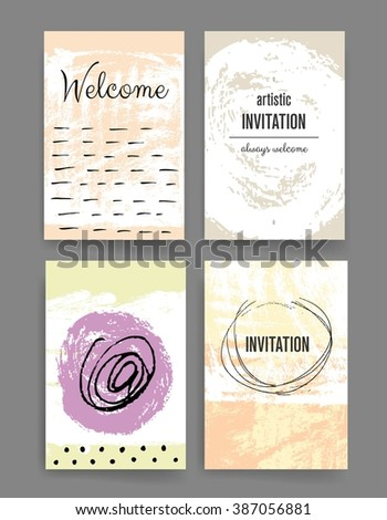 Set Trendy Posters Hand Drawn Background Stock Vector