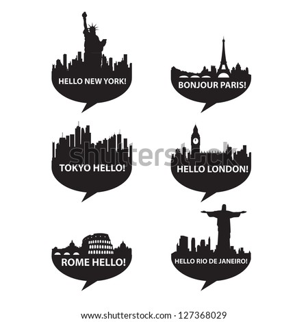Template set-Speech bubble - Hello City! vector - stock vector