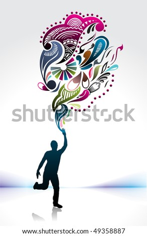 Template, silhouette of  young man runner holding torch, vector illustration - stock vector