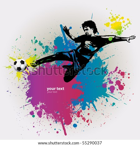 Template Sports Training Soccer Player with Ball - stock vector