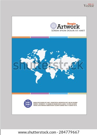 template template with world map book cover design brochure vector illustration
