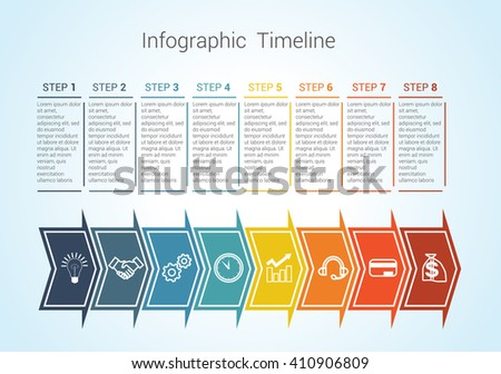 Template Timeline Infographic colored horizontal arrows numbered for eight position can be used for workflow, banner, diagram, web design, area chart - stock vector