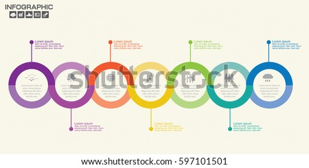 Template Timeline Infographic colored horizontal numbered for seven position can be used for workflow, banner, diagram, web design, area chart