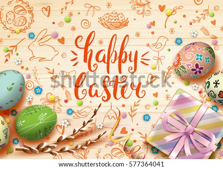 Template vector card realistic eggs gift stock vector 564814630 template vector card with realistic eggs gift box and flowers handwriting inscription happy easter negle Image collections
