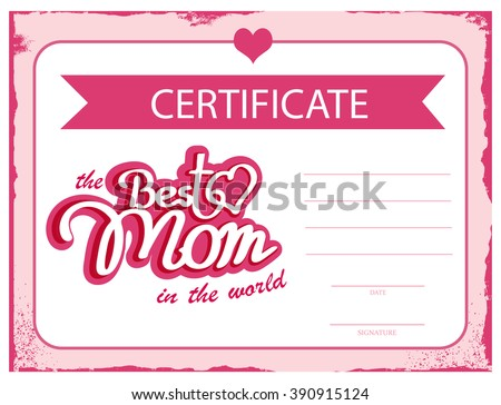 gift certificate template with logo - template vector certificate best mom world stock vector