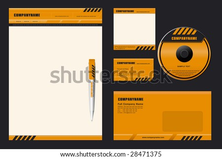 Template Vector (DANGER) - blank, card, pen, cd, note-paper, envelope - stock vector