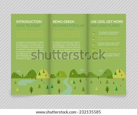 Template vector ecological green design for trifold brochure with green drawn landscape. Editable, bright. Proportionally for A4 size - stock vector