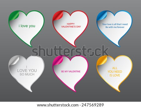 Template - Vector Geometrical Design love Speech bubbles set with curved corner. Valentine's Day romantic card - stock vector