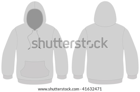 Template vector illustration of a blank hooded sweater. All objects and details are isolated. Colors and white background color are easy to adjust/customize. - stock vector