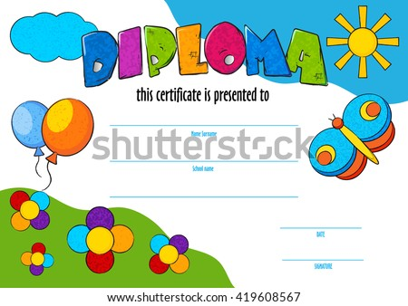 Template vector child diploma certificate be stock vector template vector of child diploma or certificate to be awarded kindergarten preschool kids diploma design yelopaper Images