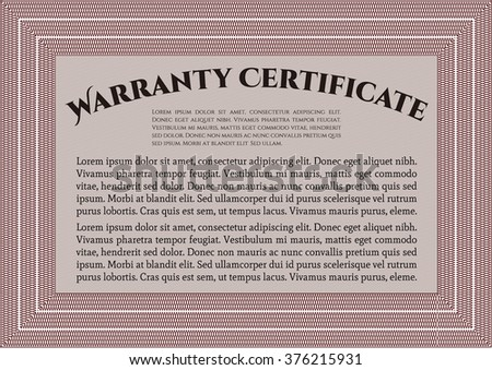 Template Warranty certificate. Border, frame. With quality background. Superior design.  - stock vector
