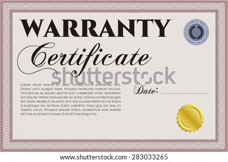 Template Warranty certificate. Complex design. Retro design. Easy to print.  - stock vector