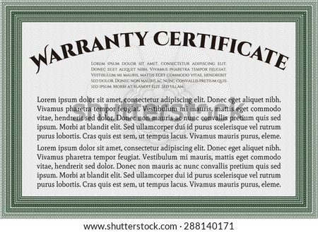 Template Warranty certificate. Very Customizable. It includes background. Complex border design.
