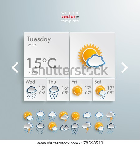 Template weather design on the grey background. Eps 10 vector file. - stock vector