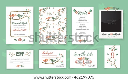 Template wedding card with cute birds on a tree branch. Greeting card. Wedding invitation, thank you card, table card, photo frame vector.