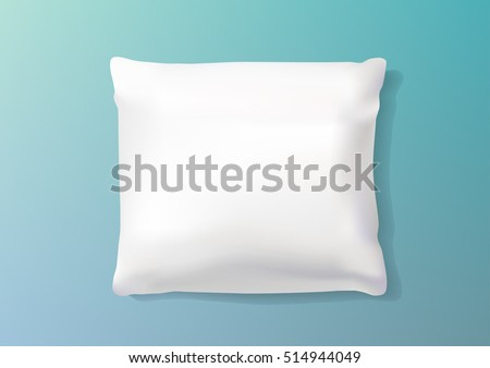 Template White Blank Realistic Square Pillow to Sleep. Soft white bolster fabric cushion blank. Vector illustration.