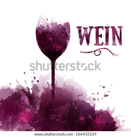 Template wine list, invitation, event or party. Wine in German. Artistic design background with stains. Vector - stock vector