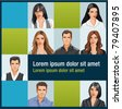 Template with a group of business and office people photos. Vector Icons. - stock vector