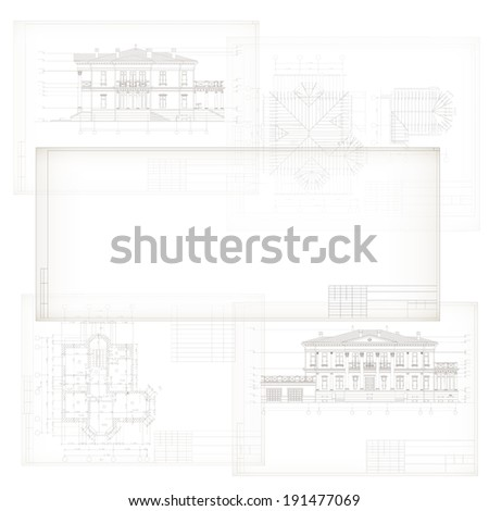 Template with architectural design elements for your business site. Part of architectural project, architectural plan, technical project, construction plan  - stock vector