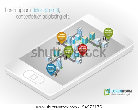 Template with business people in the street of a isometric city over smart phone  - stock vector
