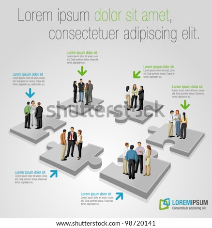 Template with business people over puzzle pieces - stock vector