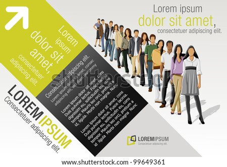 Template with business people standing in a line - stock vector