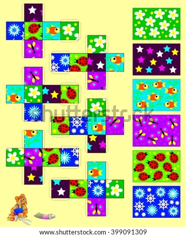 Template with exercise for children. Cut out and glue the six cubes, then gather six pictures. Developing skills for handwork. Vector image. - stock vector
