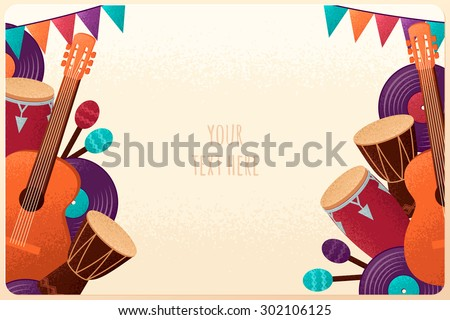 Template with guitar, percussion and conga drums, maracas, vinyl records and flags. Design for card, flyer, banner, poster or invitation. Place for your text - stock vector