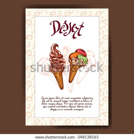 Template with hand drawn sketch bakery. Dessert card with sweet bakery. Can be used as menu for cafe or restaurant.  Vector illustration