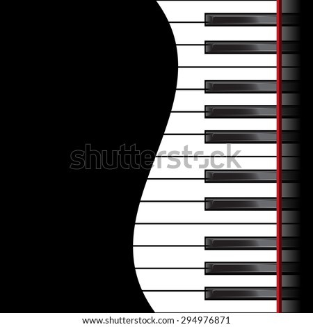 Template with piano keyboard on black background. Vector illustration - stock vector