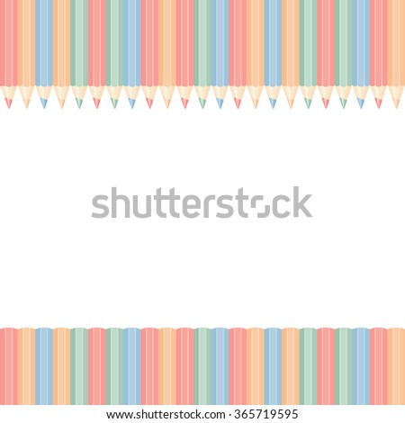 Template with row of color pencils isolated on white background. vector illustration - stock vector