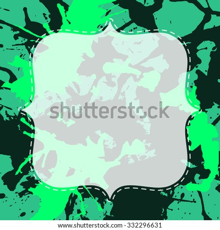Template with semi-transparent white vintage frame over green and black artistic paint splashes.