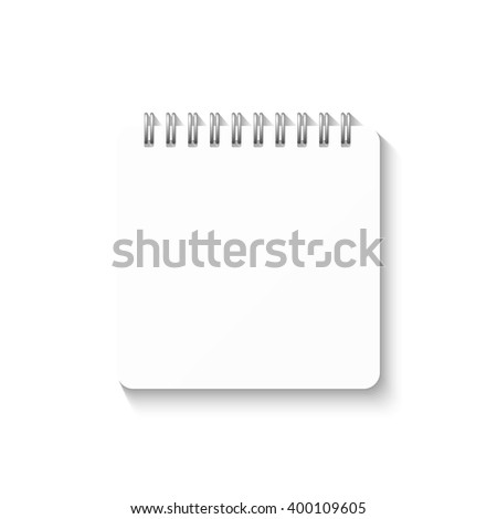 Template with spiral notebook isolated on a white background. School notebook. Diary for business. Notebook cover design. Realistic Notepad. Office stationery items.  - stock vector