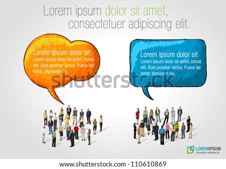 Template with two groups of business people talking by speech balloons - stock vector