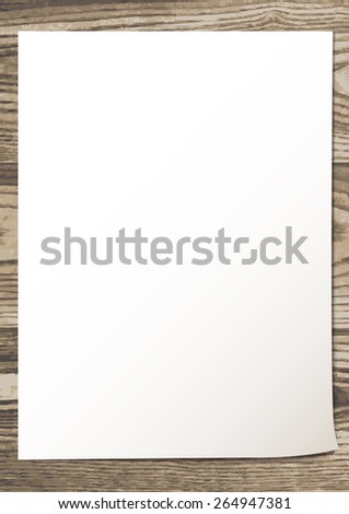 template with white blank empty sheet on a rustic wooden texture. vector illustration. - stock vector