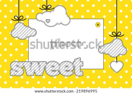 Template. Yellow, gray and white colors. Photo frame and decorative elements (clouds, heart) on a polka dot background